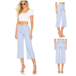 Revolve Majorelle Theo Gingham Cropped Pant Blue M